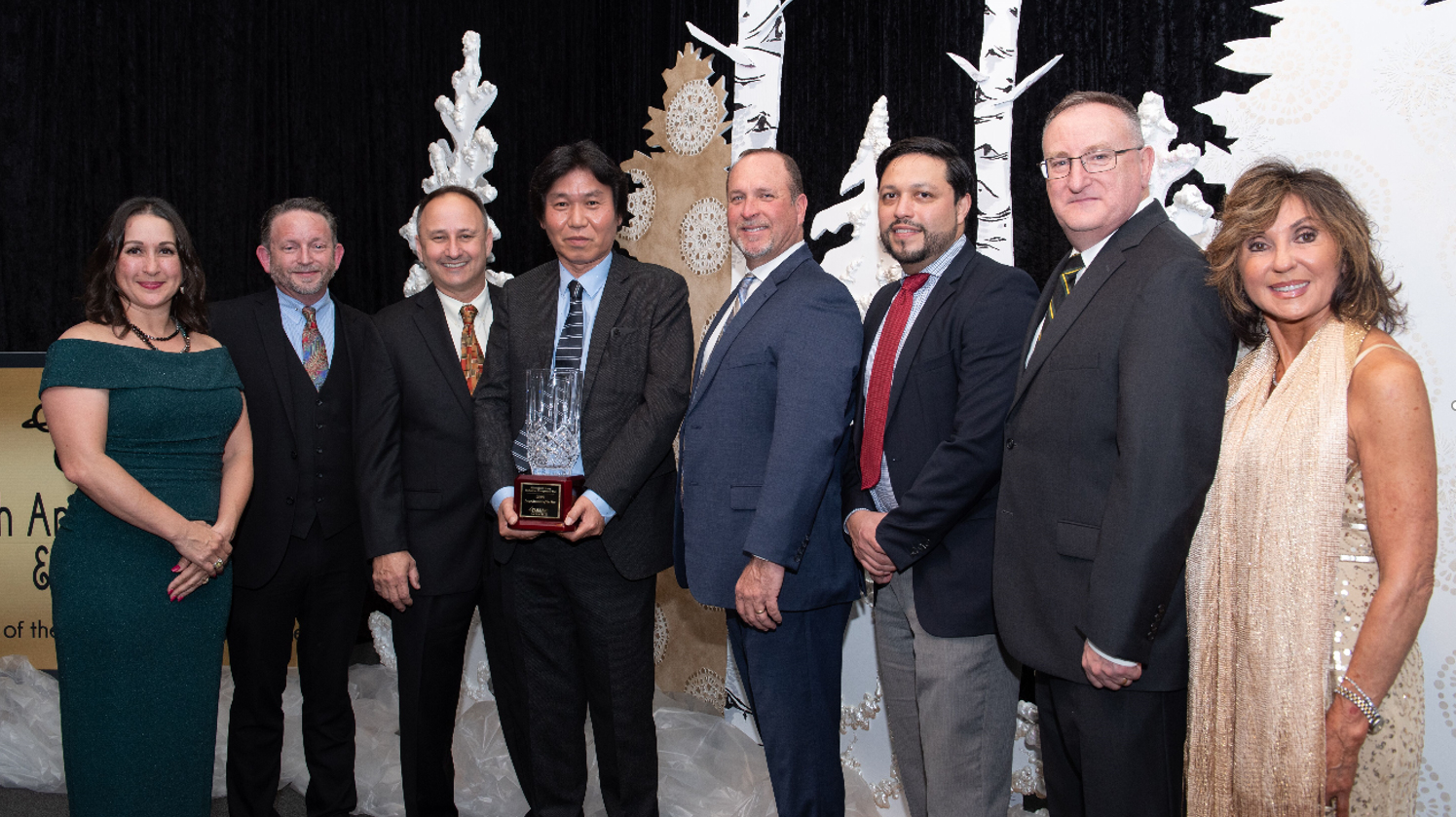 From left to right: Donna Connelly – Pearland chairman, Mark Smith – Pearland Chairman Elect, Lawrence Rominger – VP QHSE, Manabu Saga – President, Jerry Jones – Procurement Manager, Guillermo Suarez – NUB Project Manager, Joseph Lee – Facilities Manager, Carol Artz-Bucek – President and CEO of Pearland Chamber of Commerce