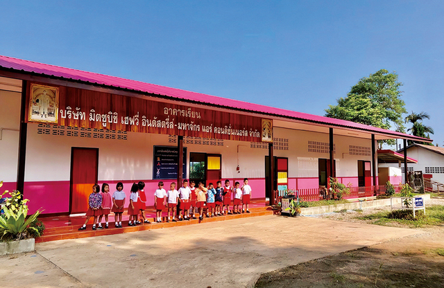 An elementary school building renovated with MACO assistance. A brighter school environment brings cheer to children and encourages children who might otherwise stay away to go to school. Thailand has around 40,000 public schools, but some are inadequate learning environments, lacking sufficient facilities and teaching materials. MACO has ongoing plans to assist schools depending on their individual needs.