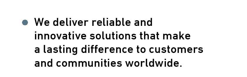 We deliver reliable andinnovative solutions that make a lasting difference to customers and communities worldwide.